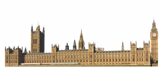 Houses of Parliament in London isolated over white Houses of Parliament aka Westminster Palace in London, UK isolated over white background city of westminster london stock pictures, royalty-free photos & images