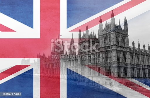 Houses of Parliament in London overlaid with a semi-transparent Union Jack National Flag - Brexit concept.