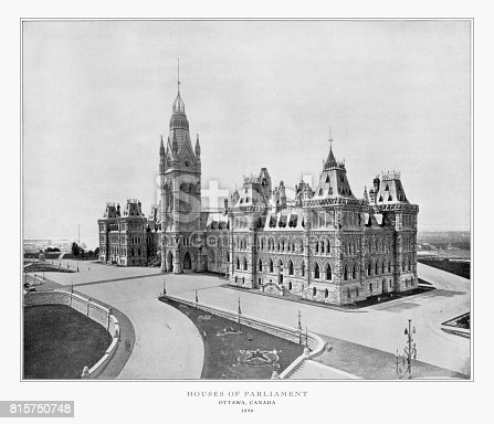 Antique Canadian Photograph: Houses of Parliament, Ottawa, Canada, 1893: Original edition from my own archives. Copyright has expired on this artwork. Digitally restored.