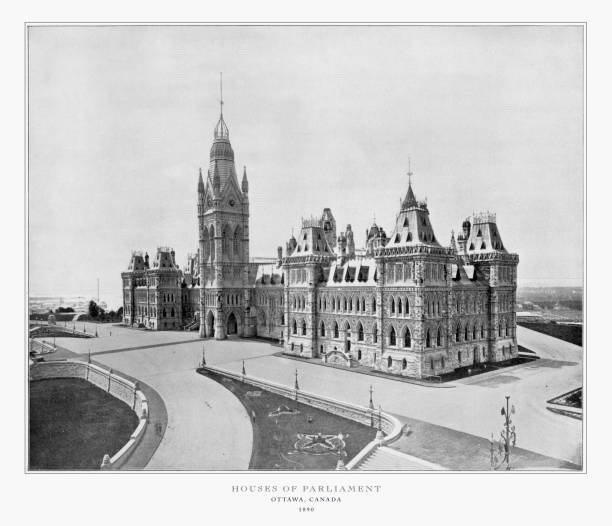 houses of parliament, ottawa, canada, antique canadian photograph, 1893 - canada parliament stock photos and pictures