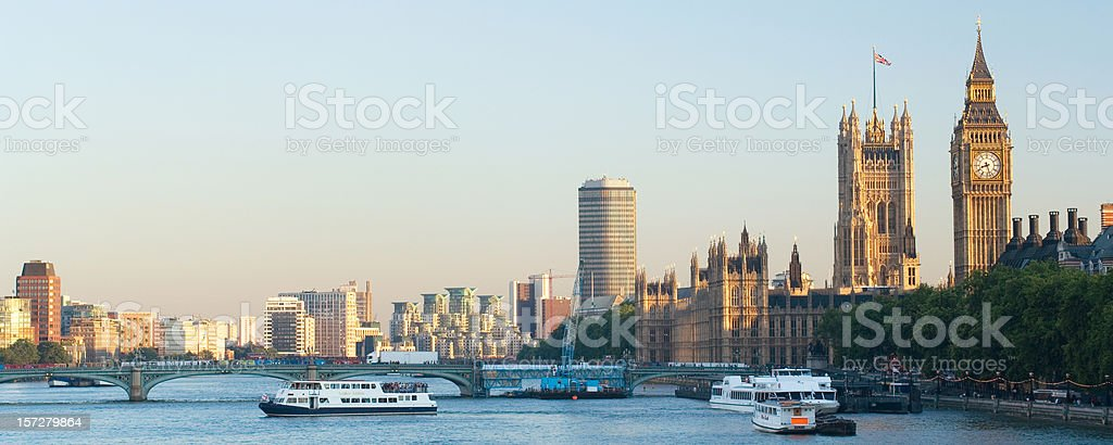 Houses of Parliament panorama - London royalty-free stock photo