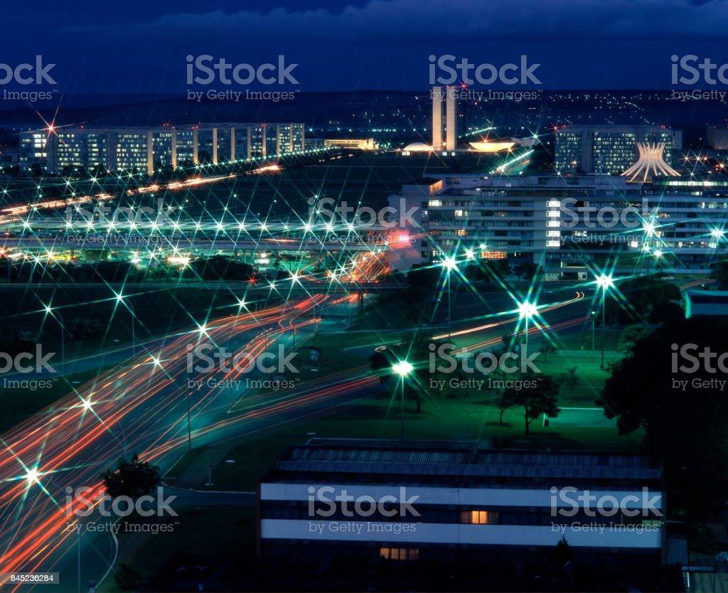 Casas de noche de tele del Parlamento - foto de stock