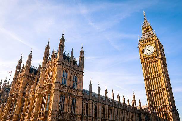 parlamento britannico, a westminster, londra - grandangolo tecnica fotografica foto e immagini stock