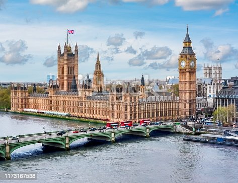 Houses of Parliament with Big Ben tower and Westminster bridge, UK