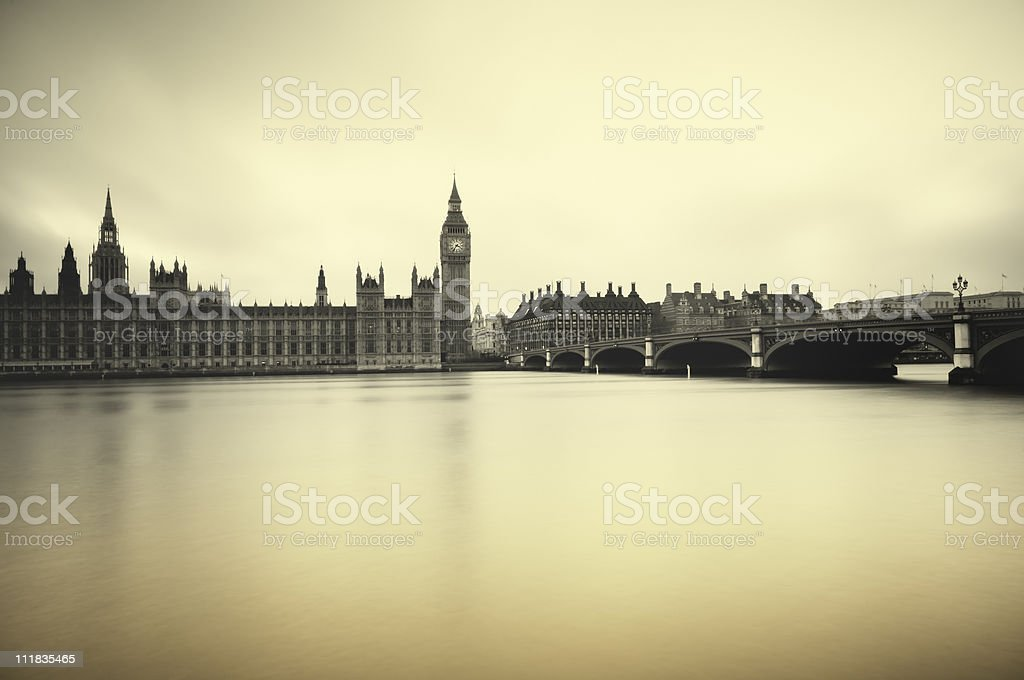 Houses of Parliament with ocean stock photo