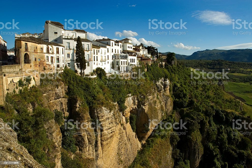 Houses of the town of Ronda on cliffs, Andalusia, Spain stock photo