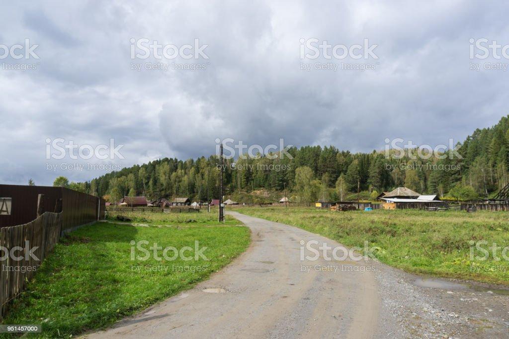 Houses of Ust-Kaspa village stock photo