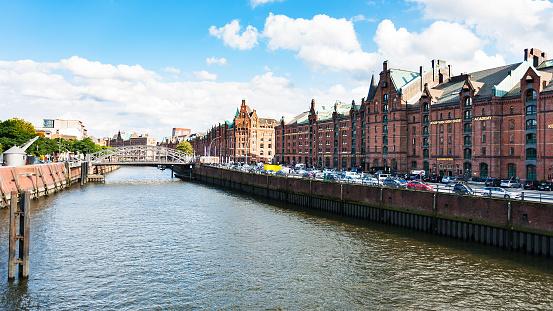 houses on banks of Binnenhafen canal in Hamburg