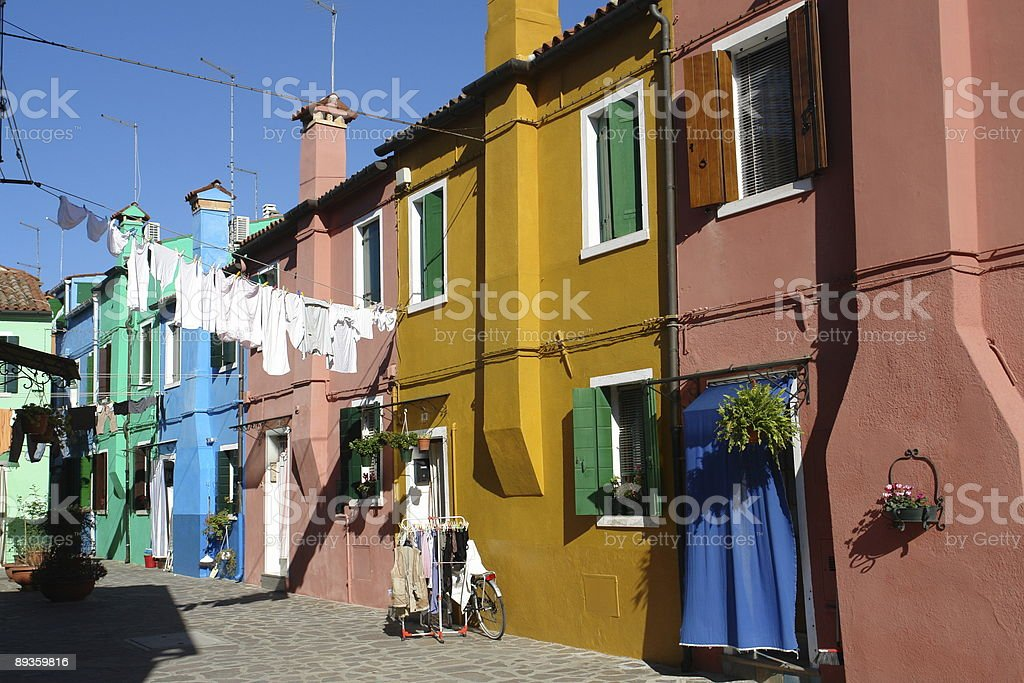 Houses on Burano Island royalty free stockfoto