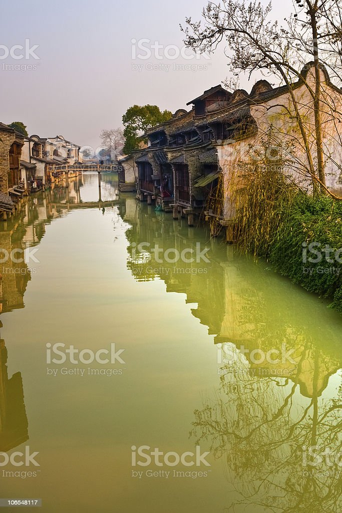 Houses on Canal in China stock photo