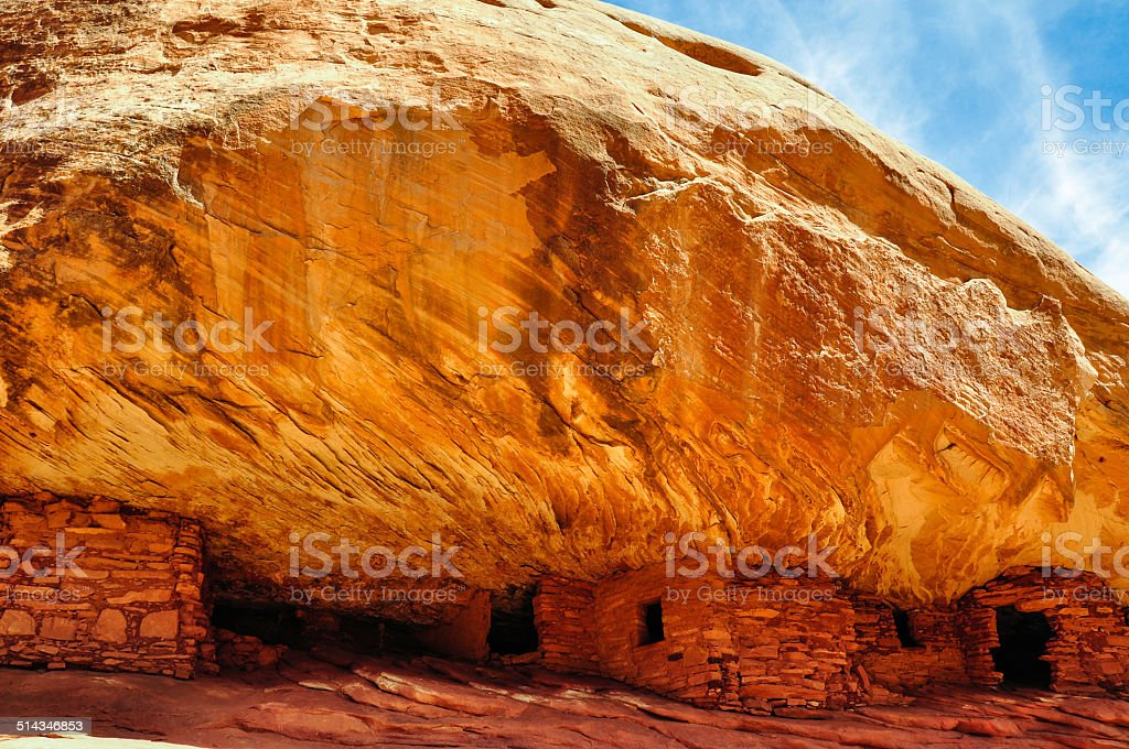 Houses on fire trail, Utah, USA stock photo