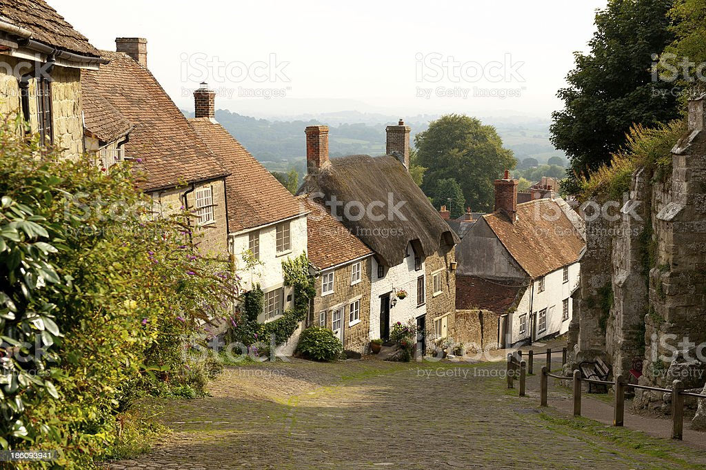 Houses on Gold Hill, Shaftesbury, Dorset, England stock photo
