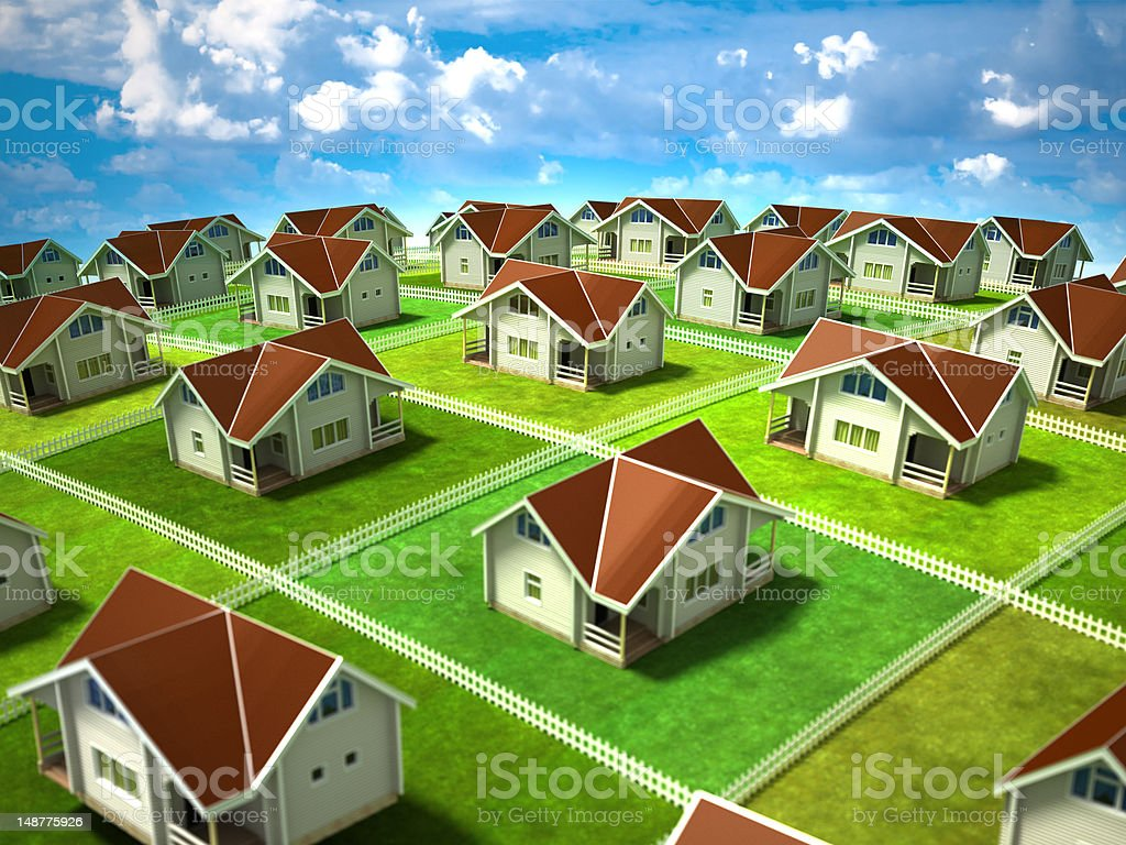 Houses on green field royalty-free stock photo