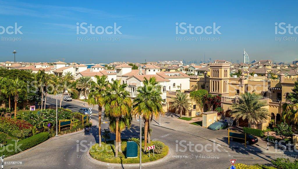 Houses on Jumeirah Palm island in Dubai, UAE stock photo