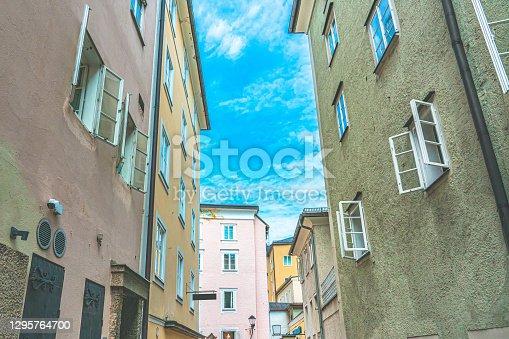 Houses on Narrow street in Hallstatt near Salzburg in Austria