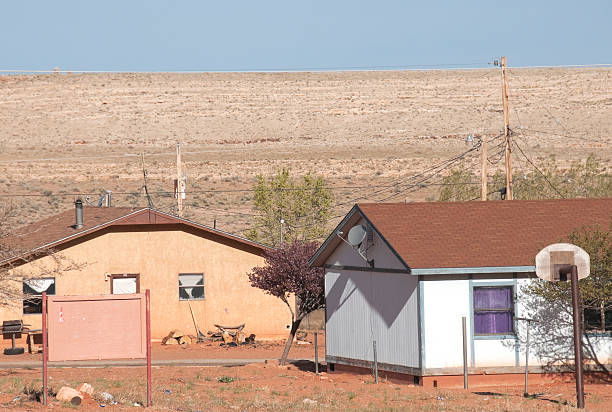 houses on navajo reservation in northern arizona - native american reservation stock photos and pictures