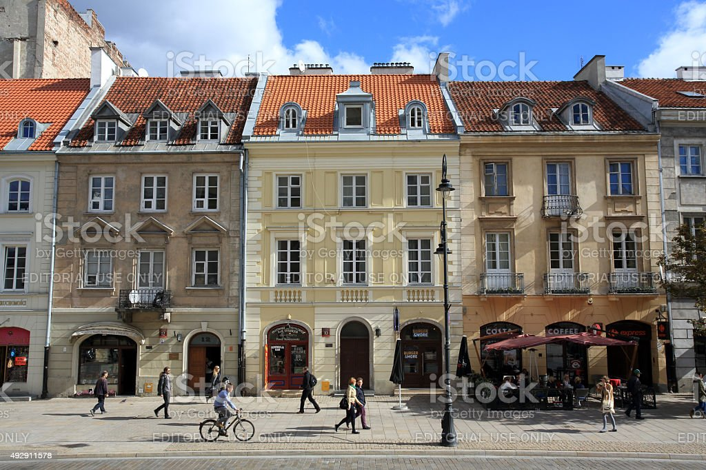 Houses on Nowy Swiat Street in Warsaw Poland stock photo