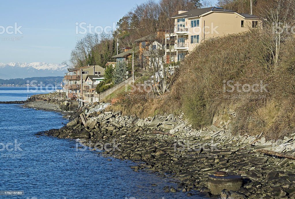 Houses on Puget Sound in Seattle WA royalty-free stock photo