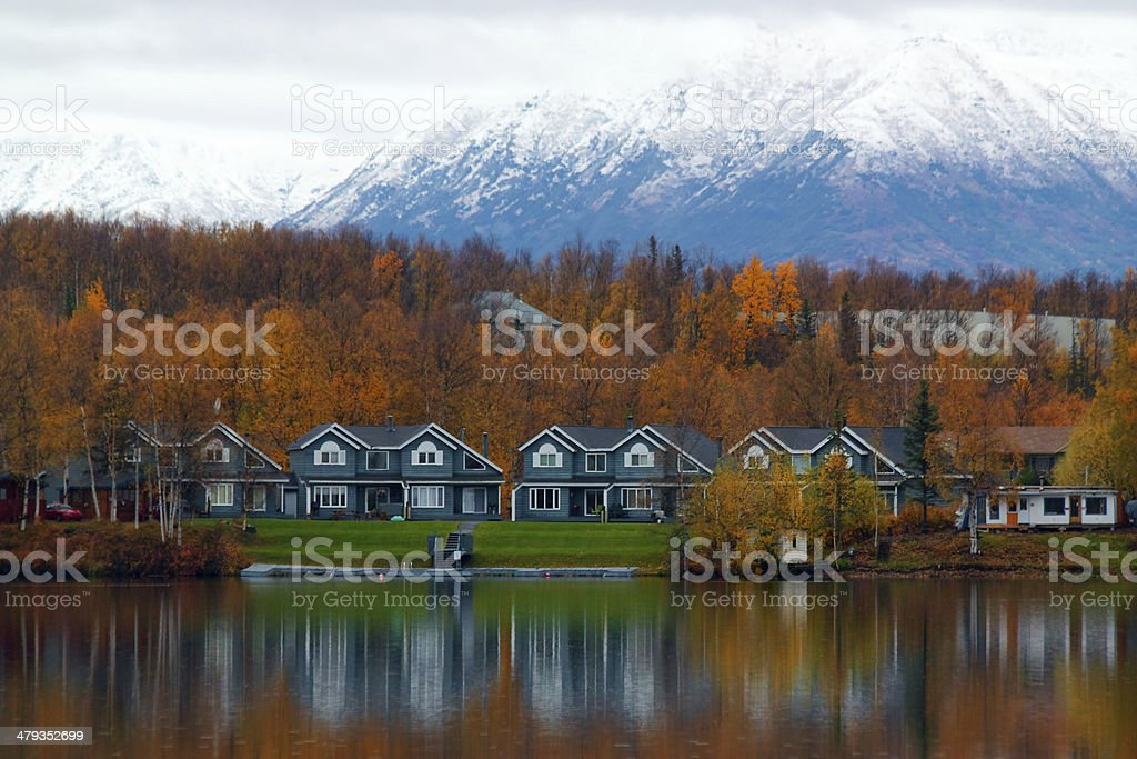 Houses on shore of lake in Wasilla stock photo