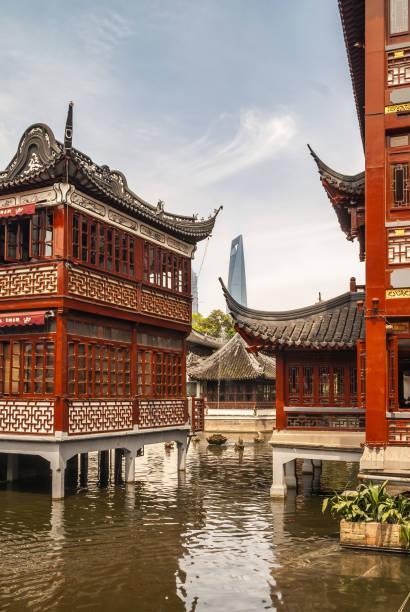 Houses on stilts at Yu garden, Changhai China. stock photo