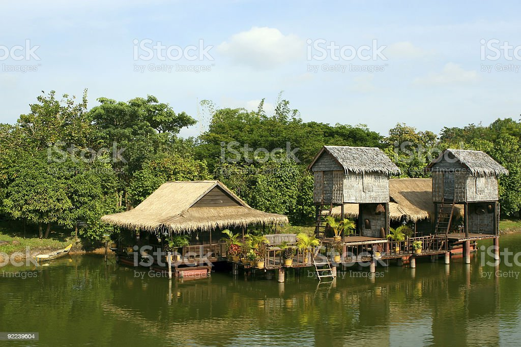 Houses on stilts.Tourist Resort in Cambodia. royalty-free stock photo