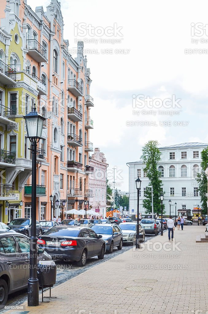 Houses on street by Andriyivskyy Uzvoz Descent or Spusk stock photo