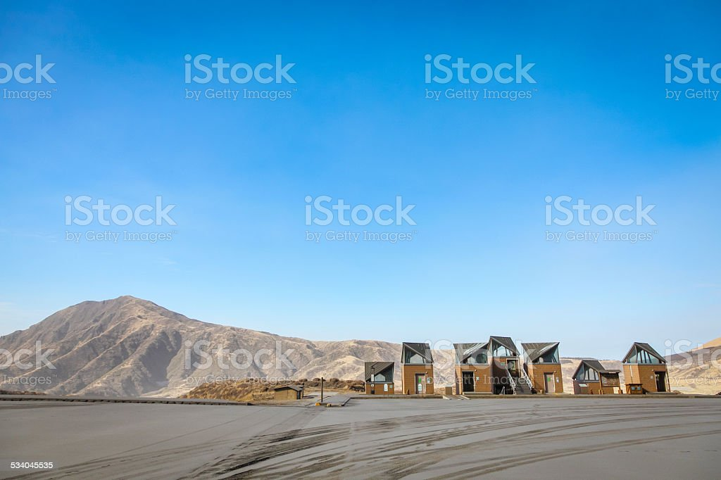 Houses on the highland under the mountain, Japan stock photo