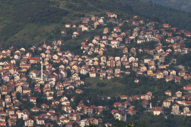 Houses on the hill in Sarajevo stock photo