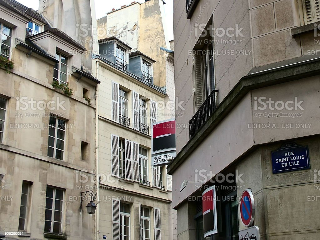 Houses on the island of Saint-Louis in Paris stock photo