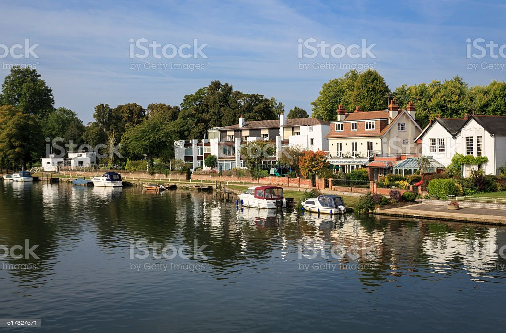 Houses on the Marlow riverside in Buckinghamshire stock photo