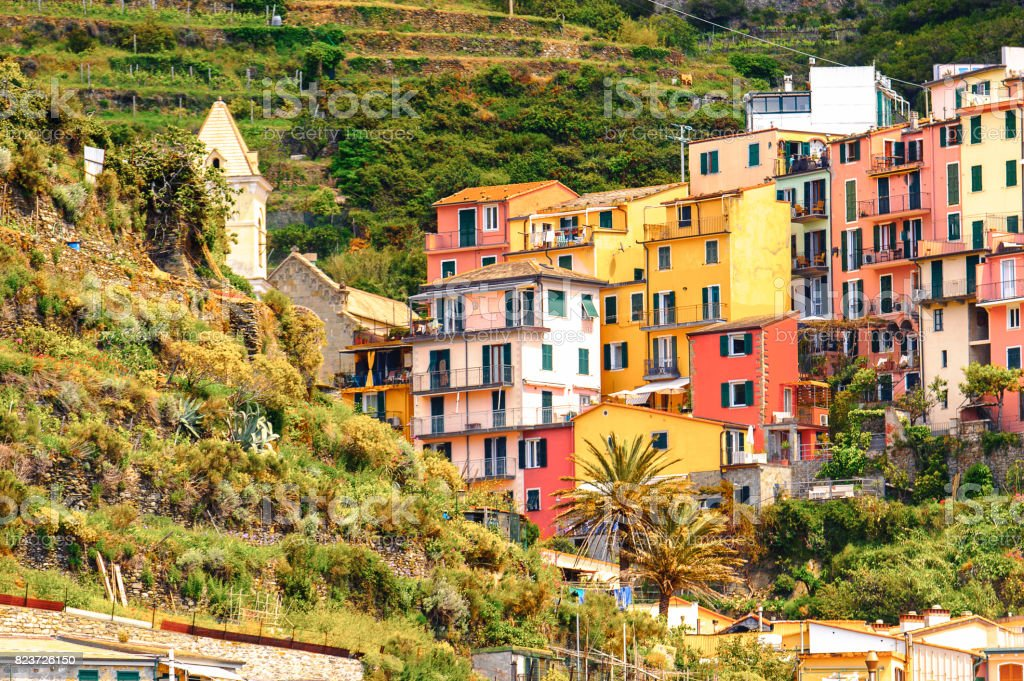 Houses on the mountains of Manarola (Manaea), a small town in province of La Spezia, Liguria, Italy. It's one of the lands of Cinque Terre, UNESCO World Heritage Site stock photo