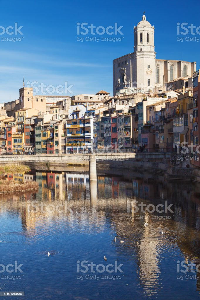 Houses on the Onyar and Cathedral of Girona stock photo