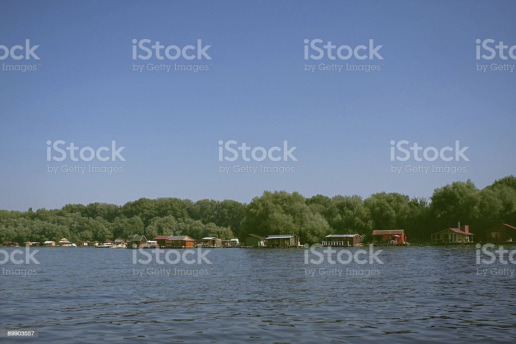 Houses on the river royalty free stockfoto