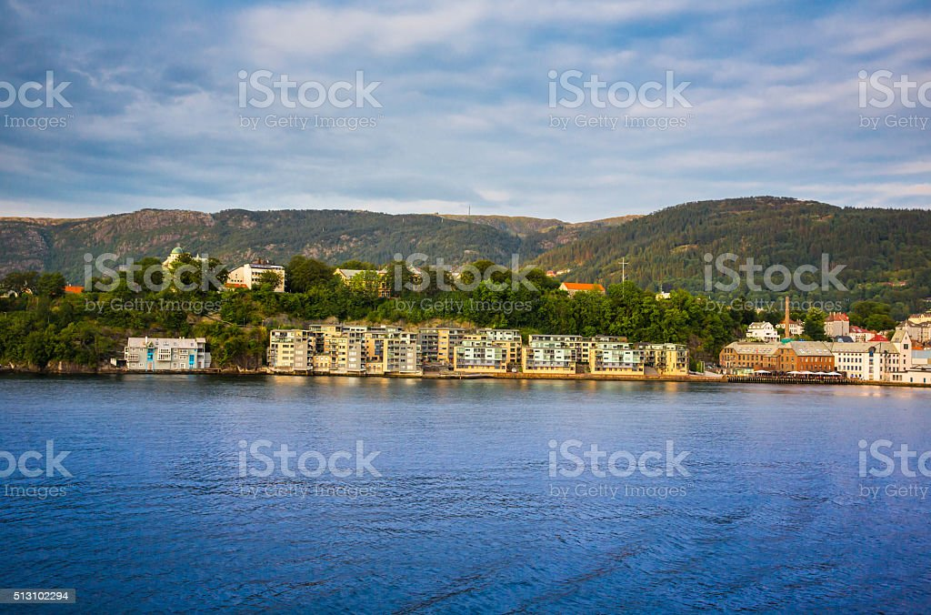 Houses On The Shore Of The Norwegian Sea Bergen Norway Stock