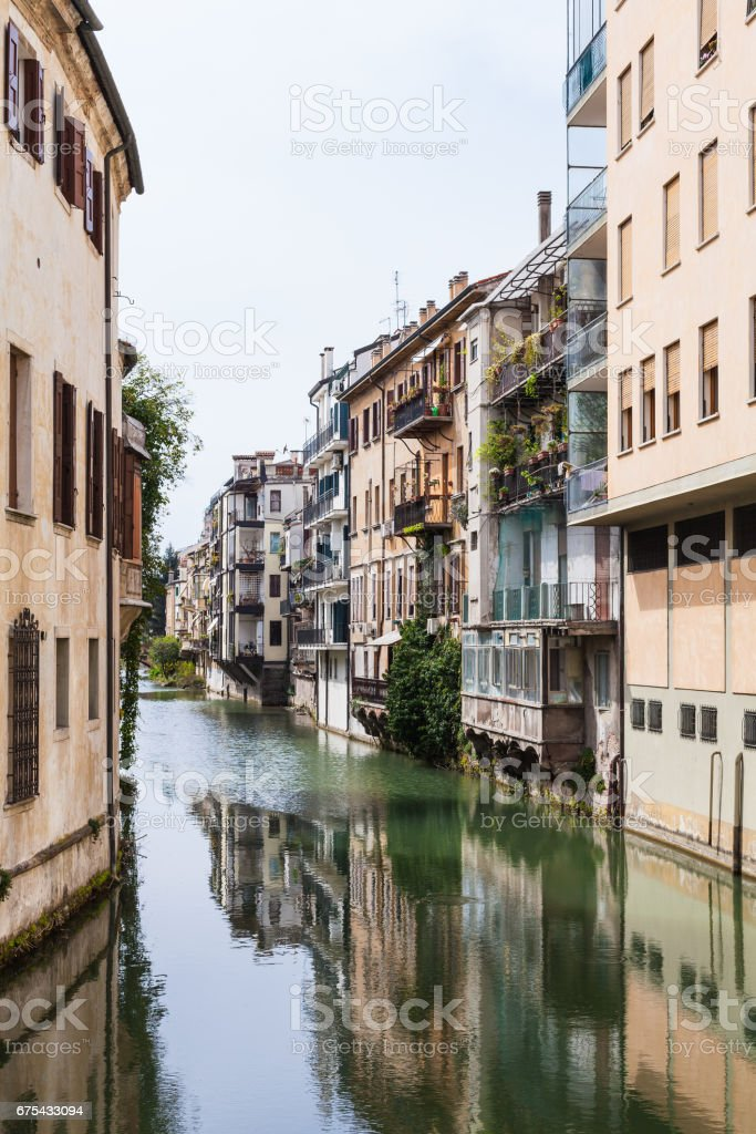 houses on waterfront canale piovego in Padua royalty-free stock photo