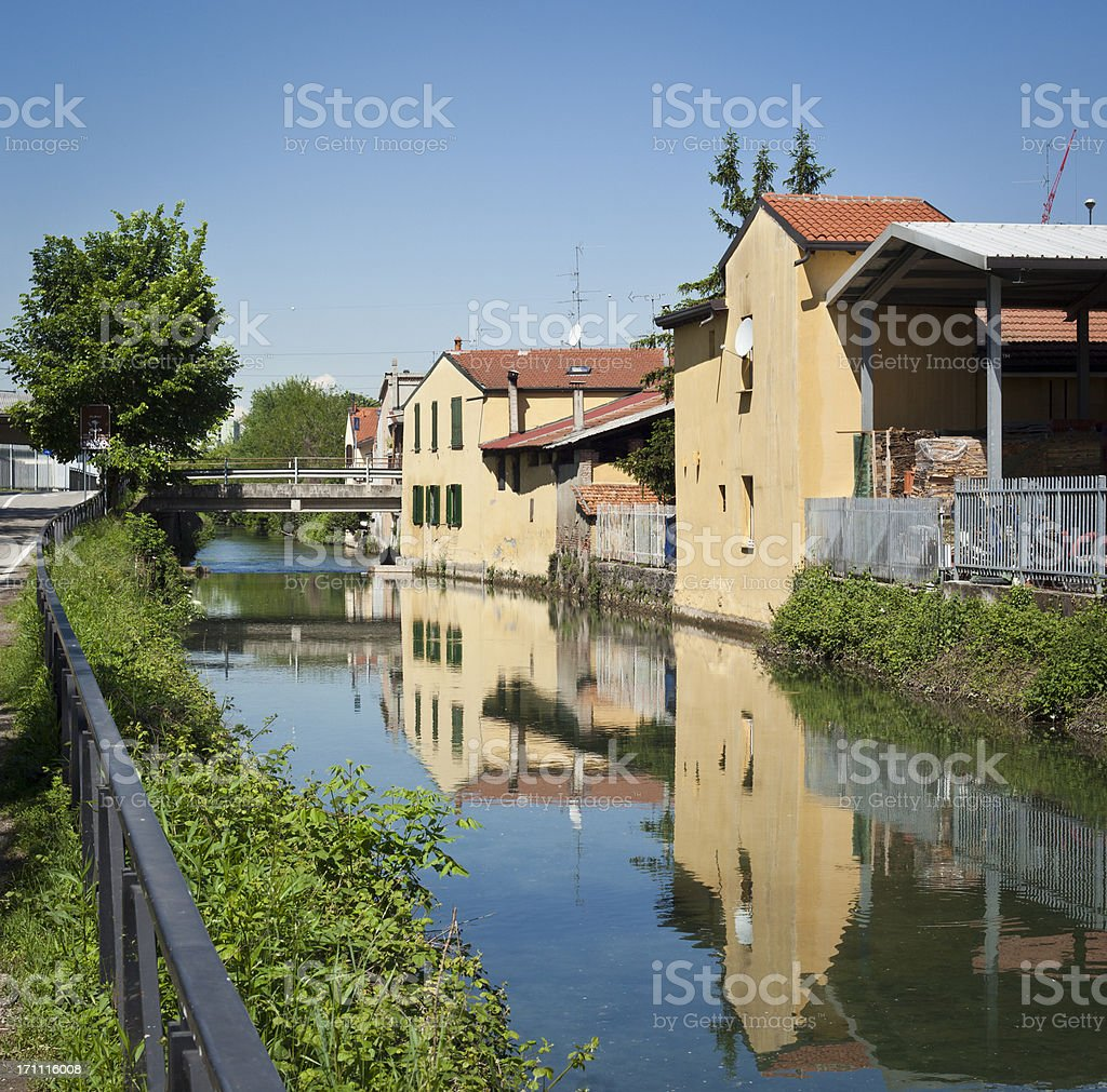 Houses Reflected In Canal Water, Naviglio Of Milan royalty-free stock photo