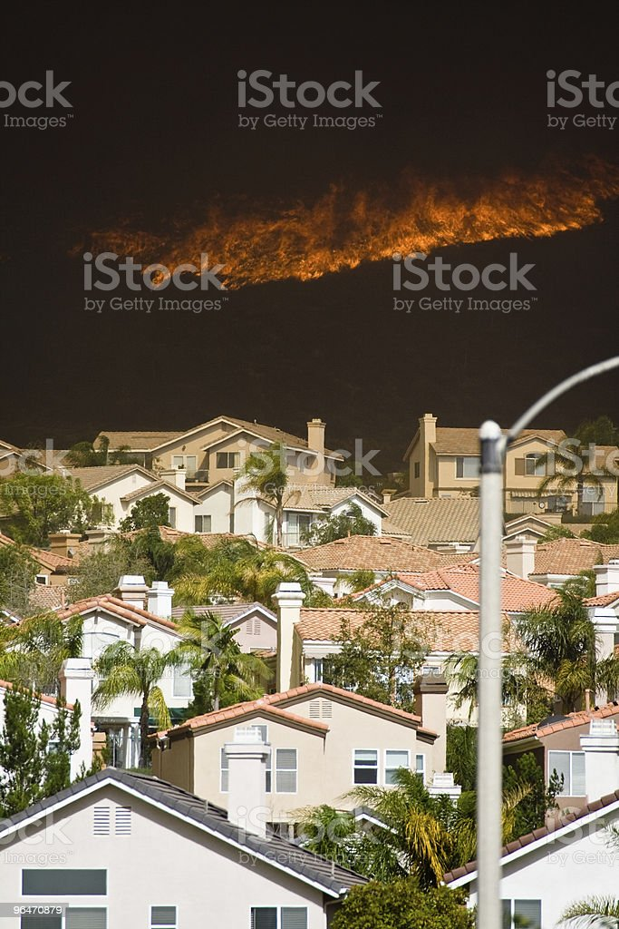 Houses Threatened by Fire royalty-free stock photo