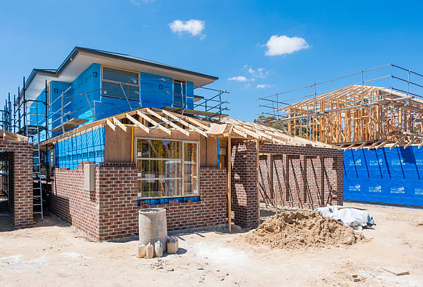 Houses under construction stock photo