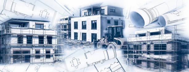 Häuser im Bau mit Bauplänen – Foto