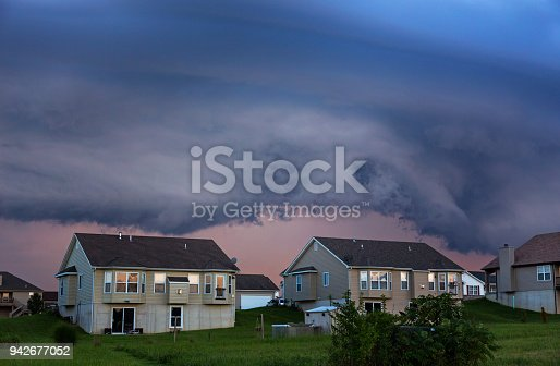 516351793 istock photo Houses Under Shelf Cloud 942677052