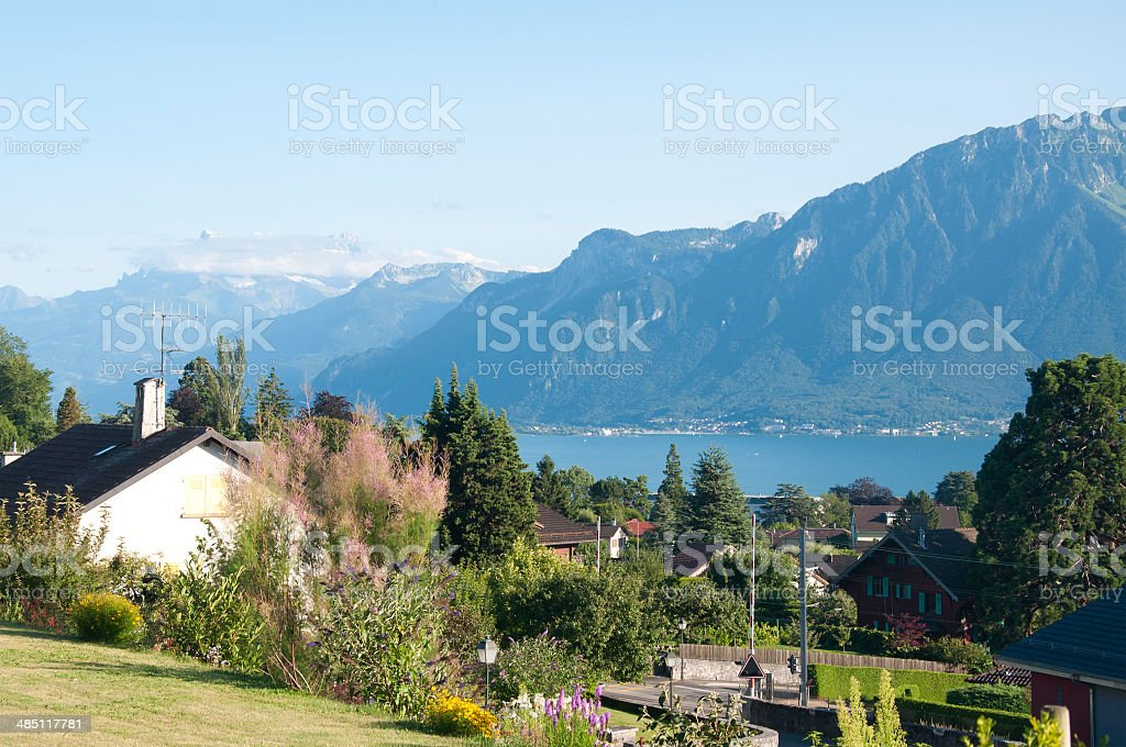 Houses with a view of Lake Geneva stock photo