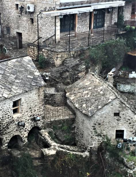 Houses with slate tile roofs in Mostar, Bosnia-Herzegovina stock photo