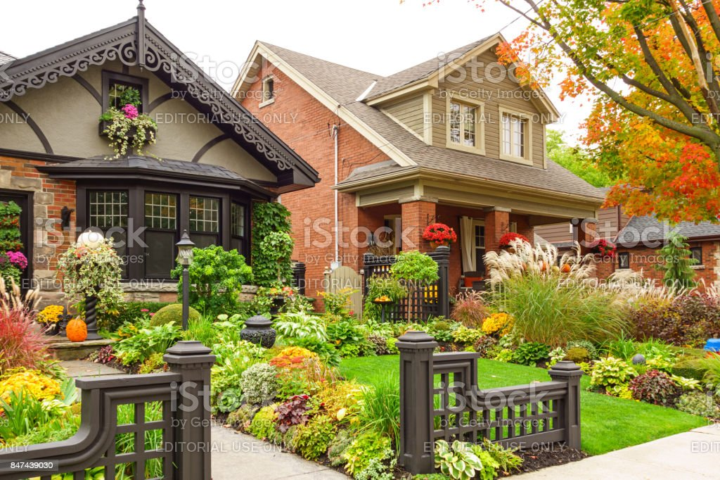 Houses with Thanksgiving decoration in Autumn stock photo
