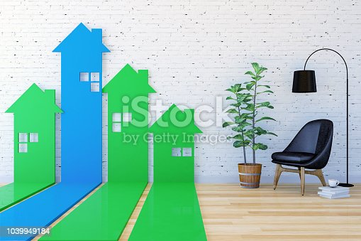 3D House-shaped arrow bar graph go upward in living room indexing Real Estate demand and value, 3D Rendering