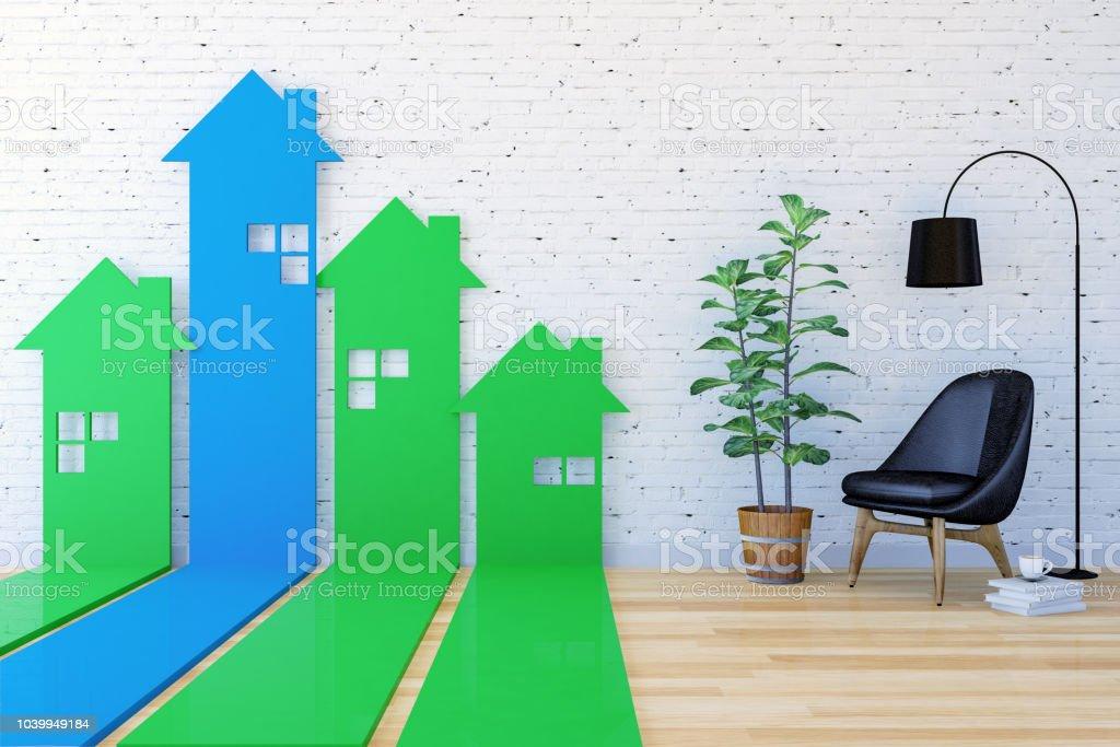 3D Haus-förmigen Pfeil Balkendiagramm gehen nach oben im Wohnzimmer Indexierung Immobiliennachfrage und Wert – Foto