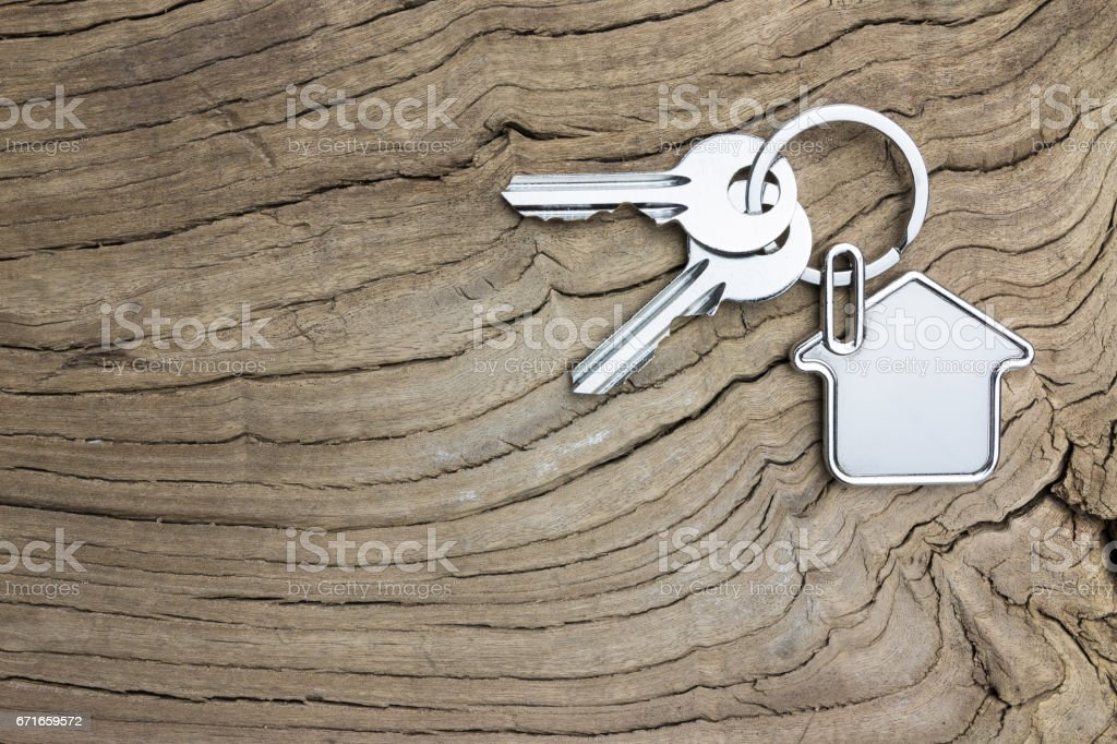 House-shaped key stock photo
