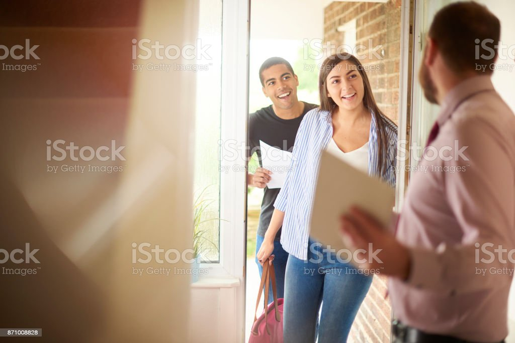 houseviewing young couple stock photo
