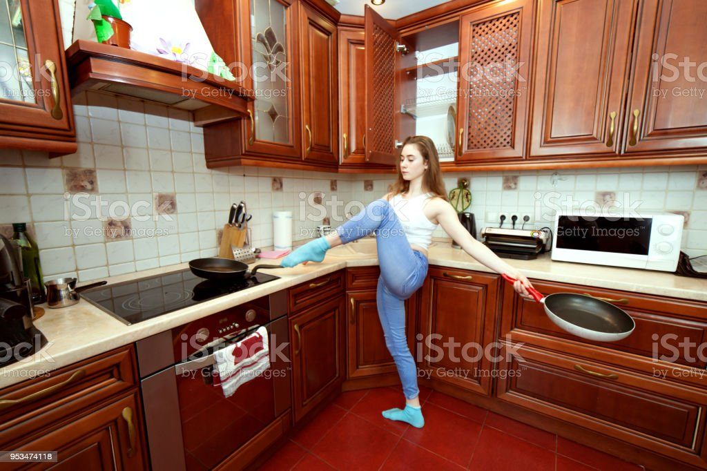 Housewife and sport. stock photo