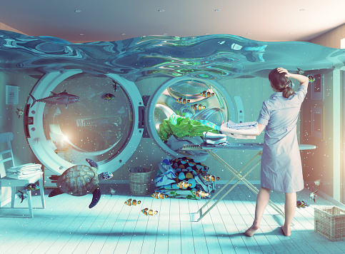 Housewife dreams. Creative concept. Photo and cg elements combination