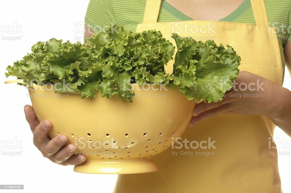 Housewife holding Colander of Salad Isolated on White Background royalty-free stock photo
